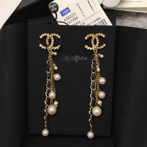 CHANEL Authentic XL Crystal CC Chain Earrings